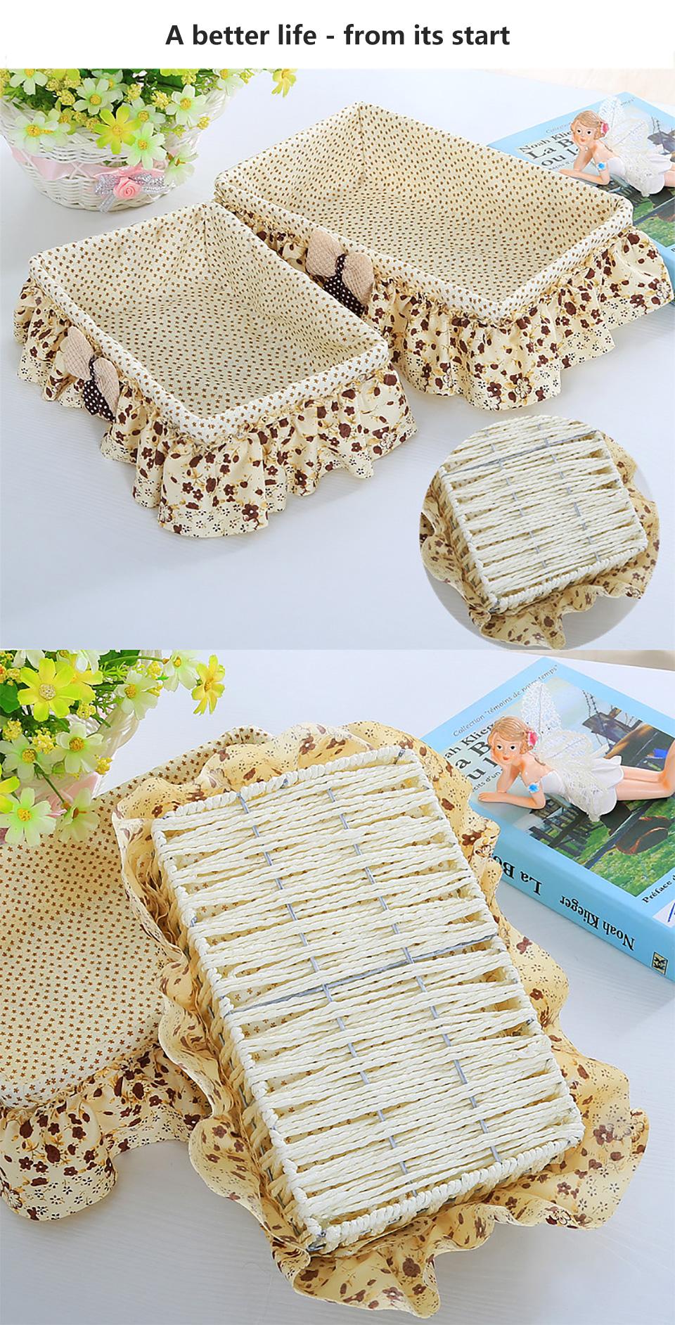 Colorido cesto tejido de bambú fruta caja de almacenamiento cesta de ...