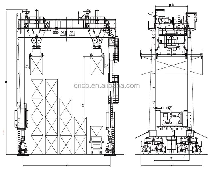 Dibujo Profesional Barco/contenedor De Elevación Grúa