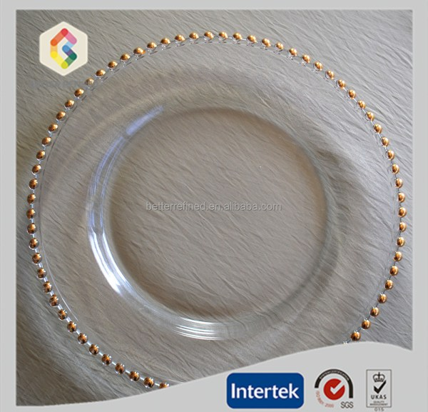 Gold Beaded Glass Charger Plates Wholesale