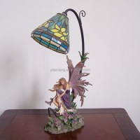 Fairy Table Lamp W Stained Glass Lampshade Polyresin Fairy ...