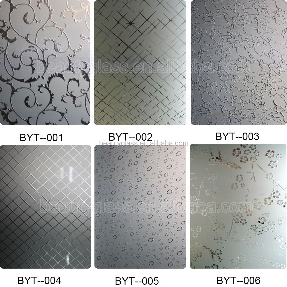 Acid Etching Bathroom Window Glass Types With China Glass