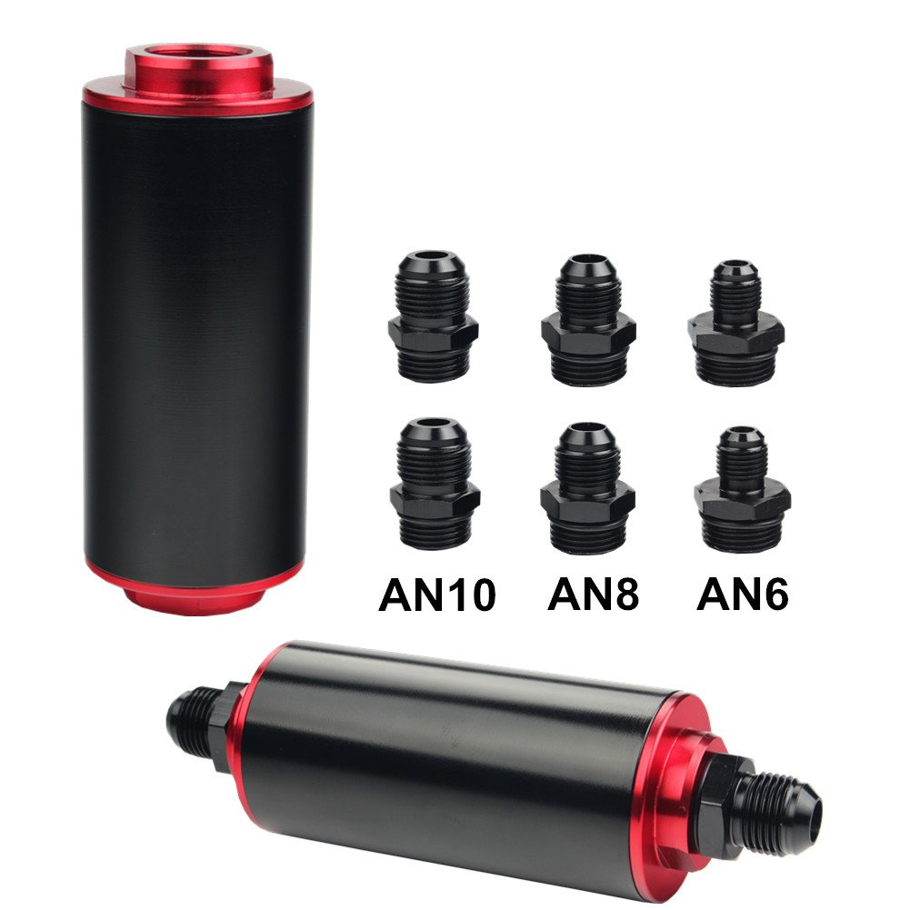hight resolution of dewhel inline fuel filter high flow 100 micron cleanable ss an6 an8 an10 universal 50mm black