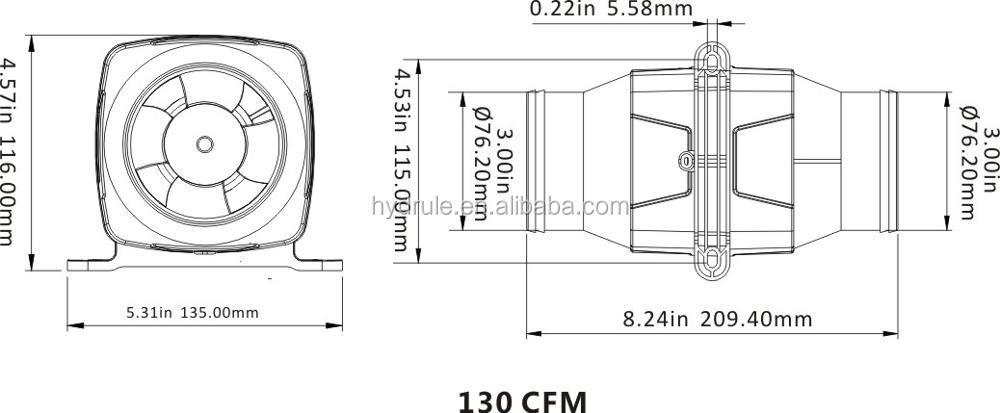 Hydrule Inline Blower 12v Boat Bilge Galley Head Engine