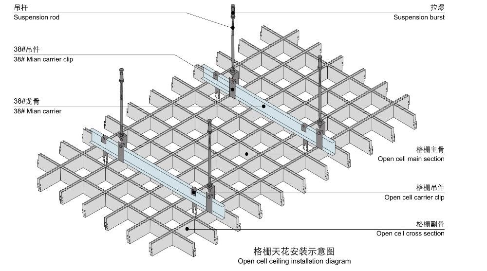 Aluminum Grid Ceiling Panels Cladding For Interior