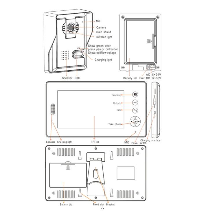 Good Quality 7inch Digital Wireless Doorbell Two Way