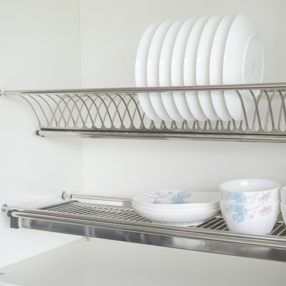 kitchen drying rack bar lighting dish 2 tiers wall mounted stainless steel hardware