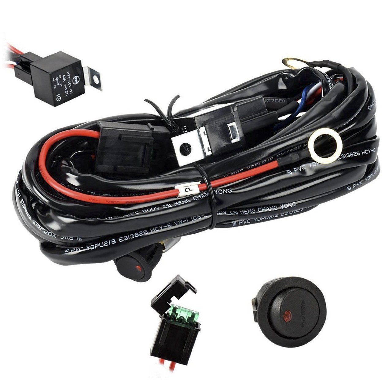 hight resolution of get quotations eyourlife wiring harness heavy duty wiring harness kit for led light bar 300w 12v 40a
