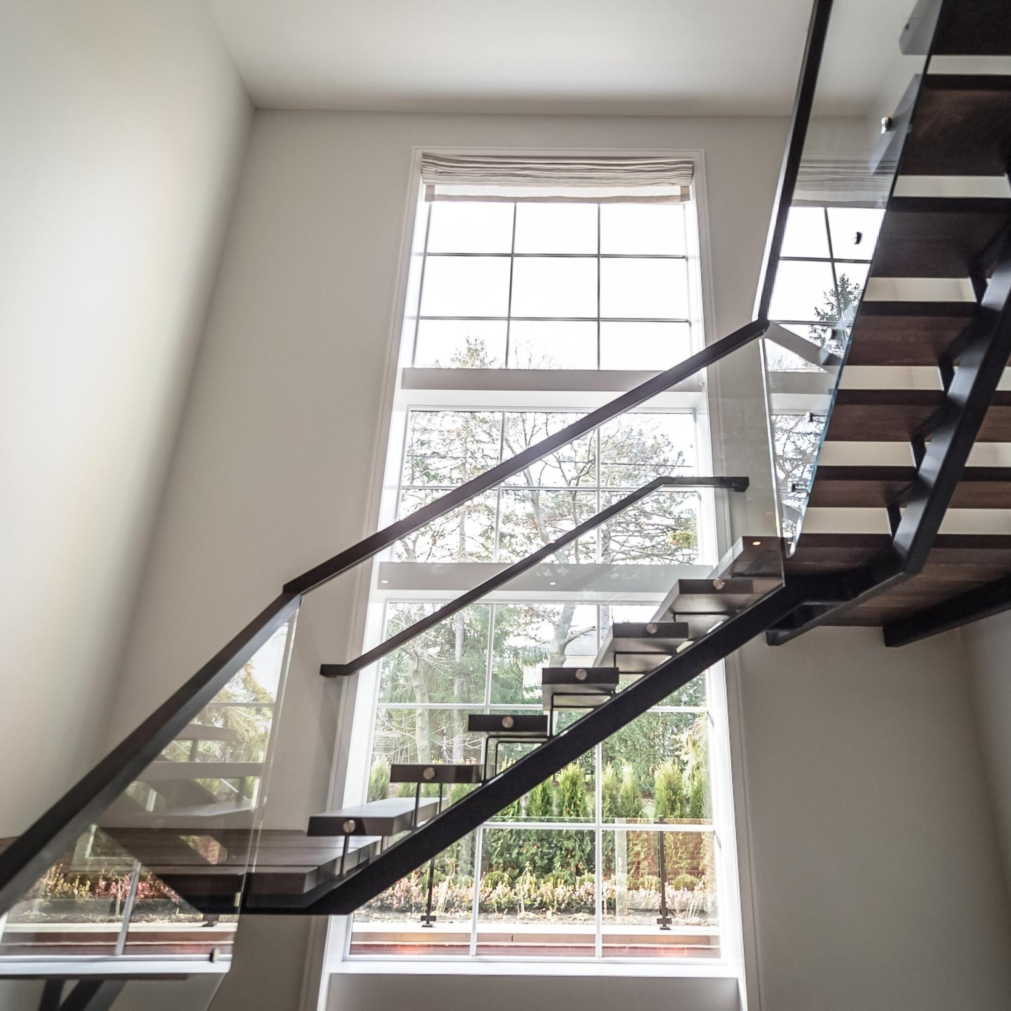 Modern Residential Glass Railing Staircase Solid Wood Tread L | Railing Of Stairs Design | Stainless | Wrought Iron | Ultra Modern Stair Grill | Stylish | Creative