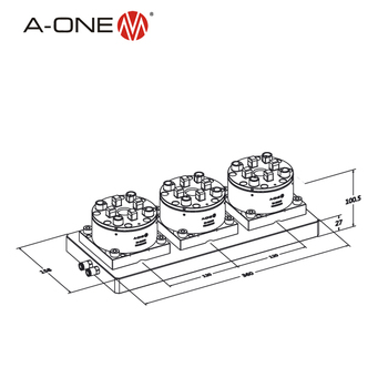 A-one 3r Type Compatible Pneumatic 3 Fold 4 Jaw Chuck 3a