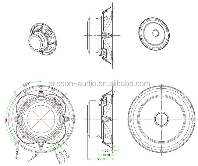 Professional 6.5 Inch 2 Way Car Component Speaker Audio