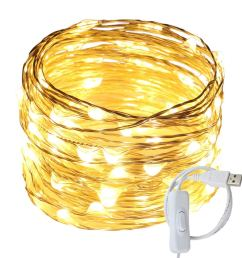 get quotations ruichen tm fairy lights usb plug power 33ft 100 led silver wire starry string lights [ 1000 x 1000 Pixel ]