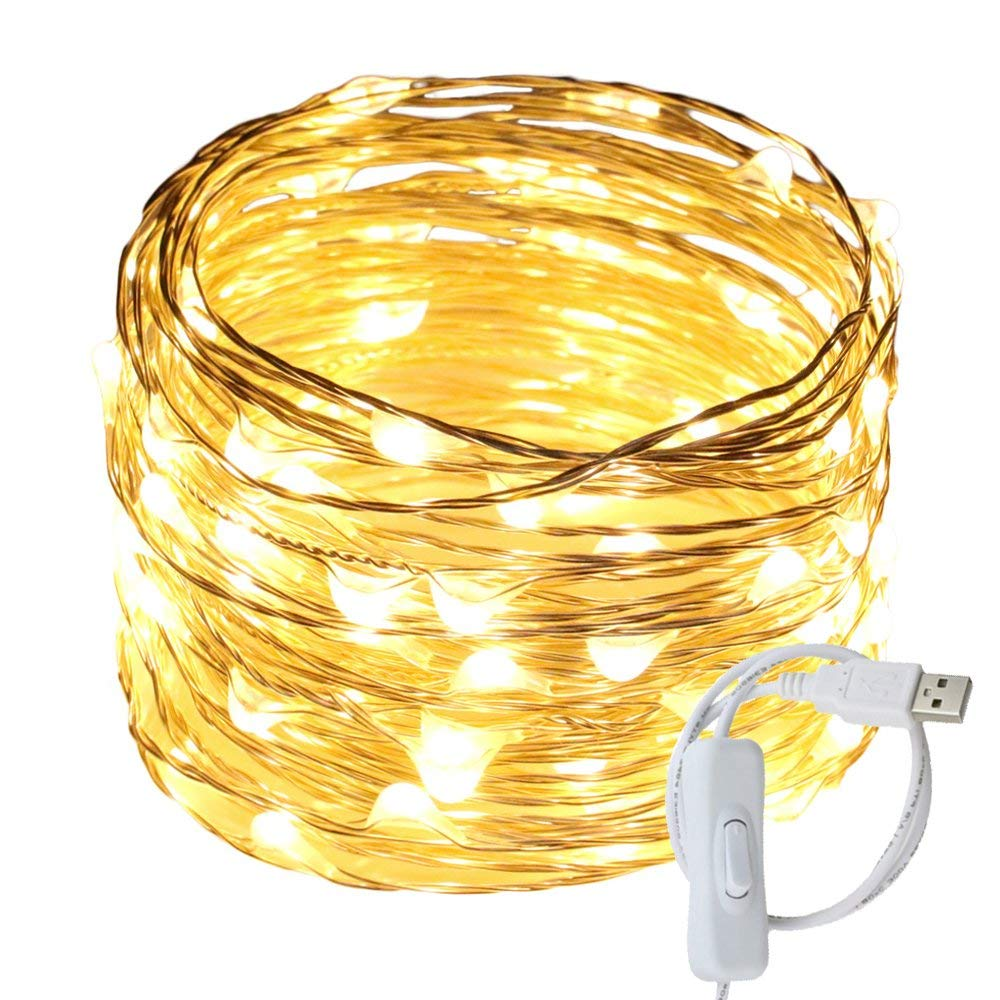 hight resolution of get quotations ruichen tm fairy lights usb plug power 33ft 100 led silver wire starry string lights