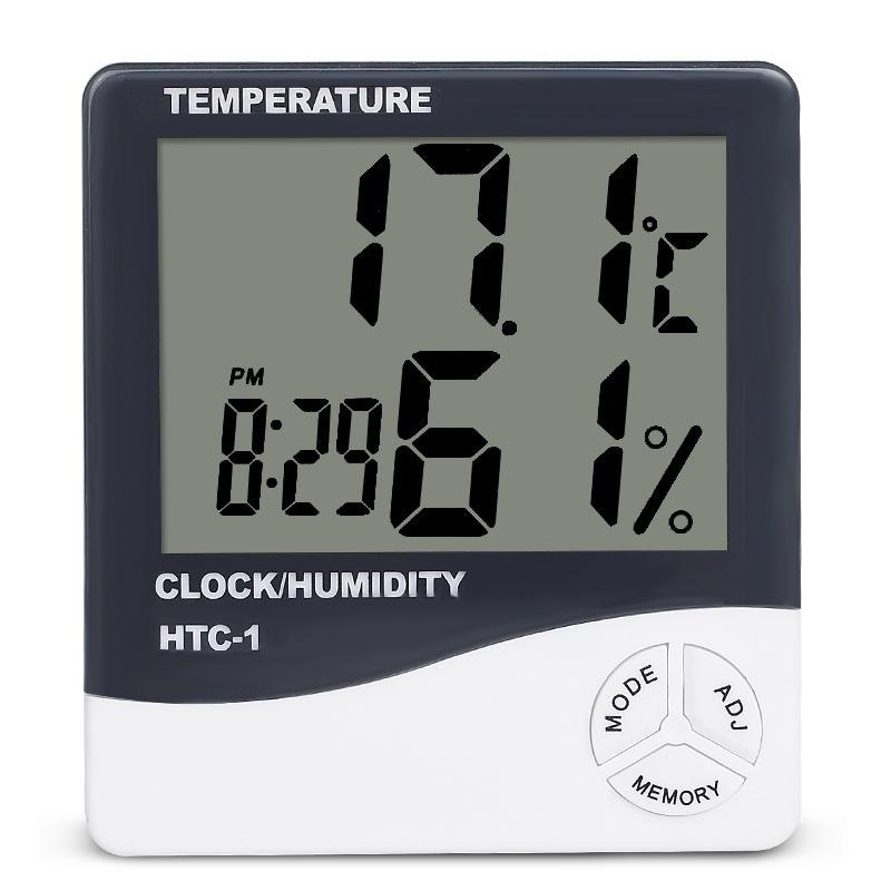 HTB1qFVGgL6H8KJjSspmq6z2WXXaV Indoor Room LCD Electronic Temperature Humidity Meter Digital Thermometer Hygrometer Weather Station Alarm Clock HTC-1