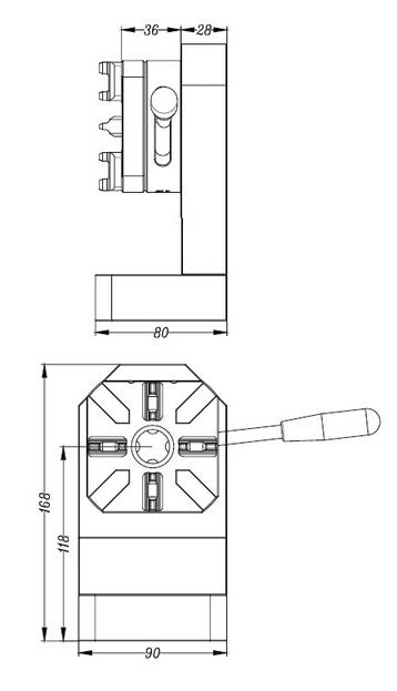 Square 4 Jaw Manual Horizontal Chuck For Lathe Machine