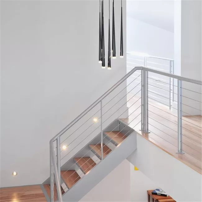 Interior Staircase Tension Wire Railing With Cable Fitting And | Tension Wire Stair Railing | Stainless Steel | Simple | Aluminum Commercial | Residential | Wire Balustrade