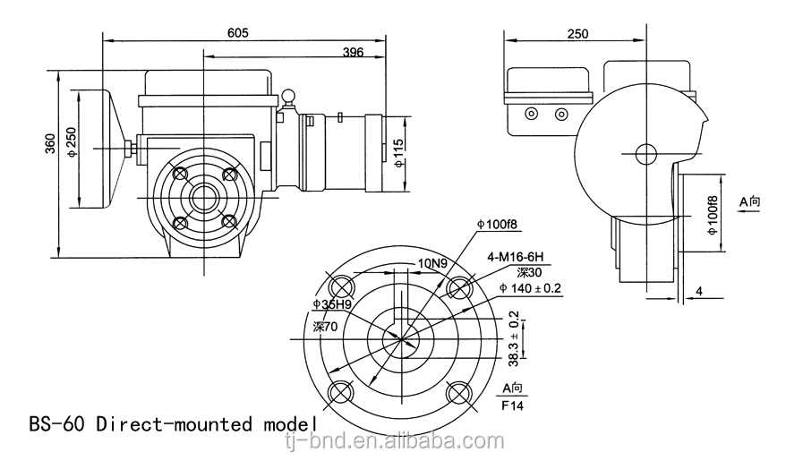 Bs-60 As-25 Quarter Turn Motorized Actuator Quarter Turn