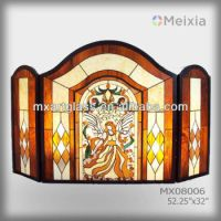 Mx080006 Tiffany Style Stained Glass Fireplace Screen