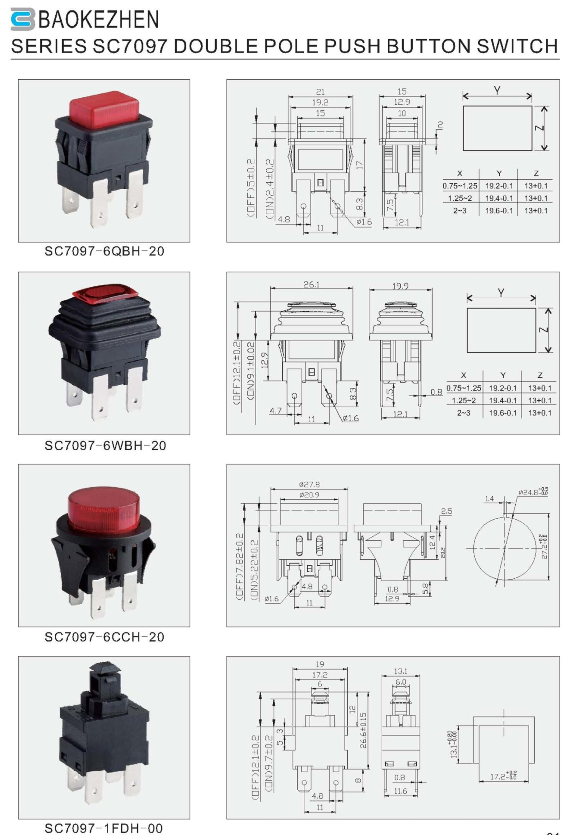 hight resolution of dpst spst double pole single pole latched momentary push button switches with