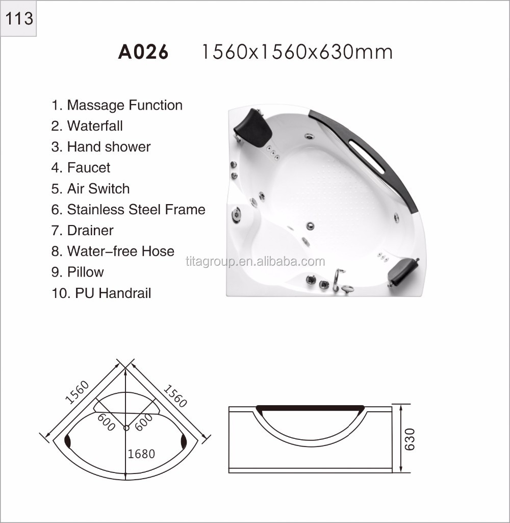hight resolution of luxury couples triangle fan double bathtub surfing massage bath crock constant temperature heating tmb026