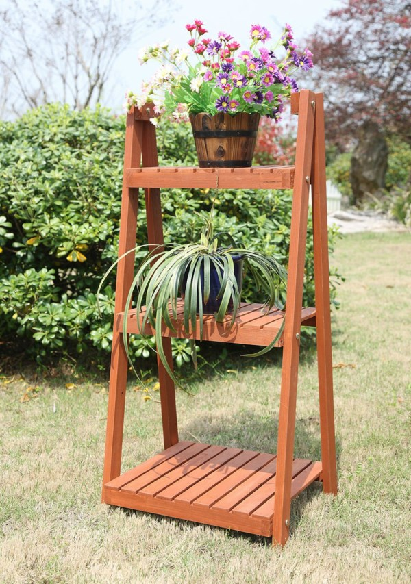 Home And Garden Outdoor Wood Ladder 3 Tire Plant Stand