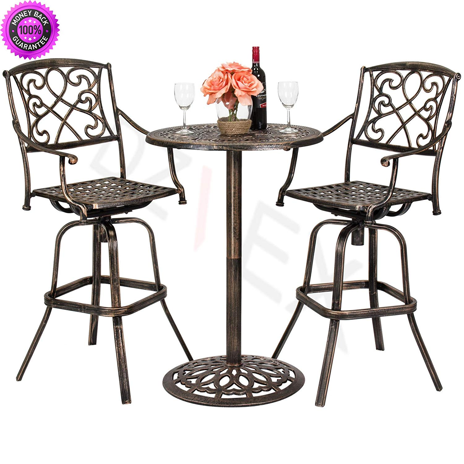 patio table and chairs clearance small dining room cheap outdoor sets sale find deals on get quotations dzvex 3 piece cast aluminum bistro set
