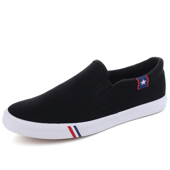 White Canvas Slip On Shoes Mens