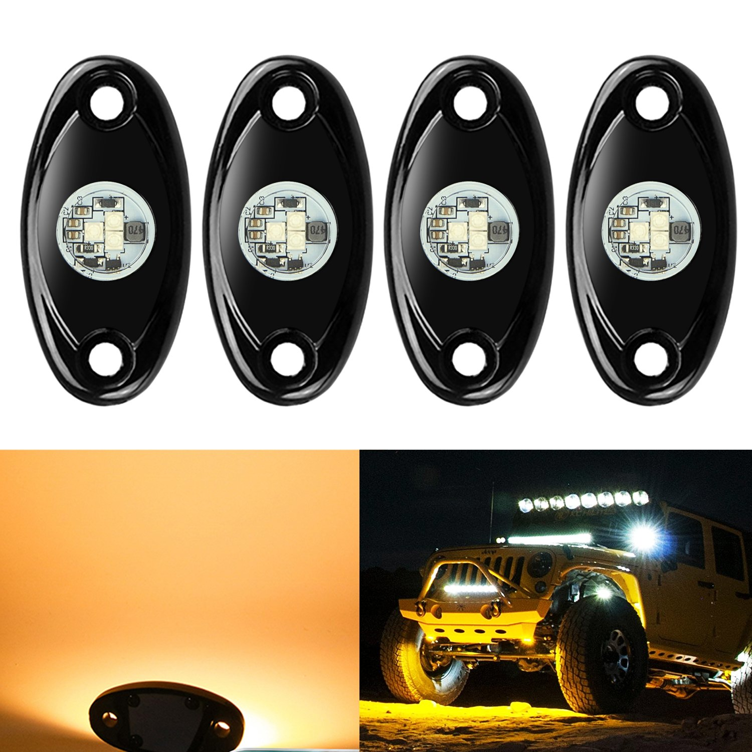 hight resolution of get quotations 4 pods led rock lights kit ampper waterproof underglow led neon trail rig lights for