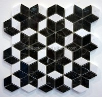 Black And White Marble Rhombus Mosaic Floor Tile,Star ...