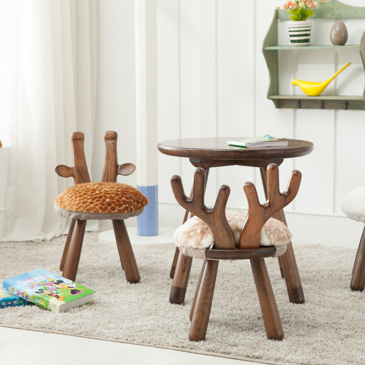 chair stool small swivel india children furniture different animal shape fabric cover wooden sitting for kids