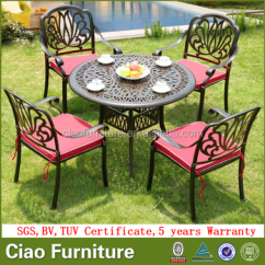 All Weather Garden Chairs Kids Reclining Cast Aluminum Outdoor Dining Table Set Furniture