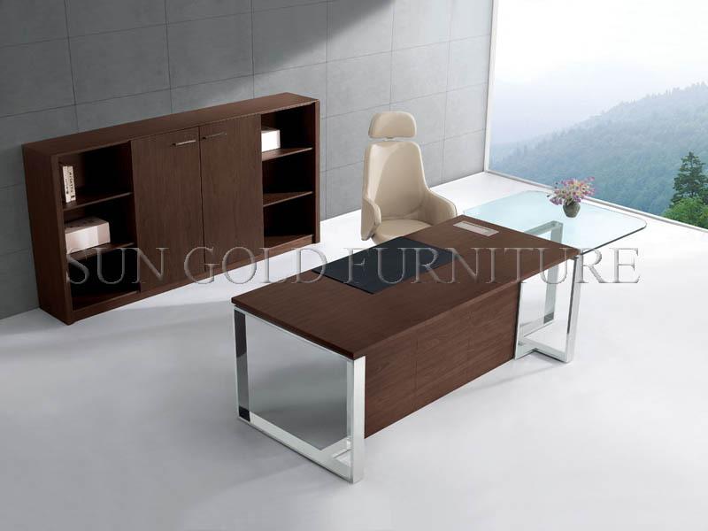 Modern Office Desk With Glass Top,Office Table With Steel