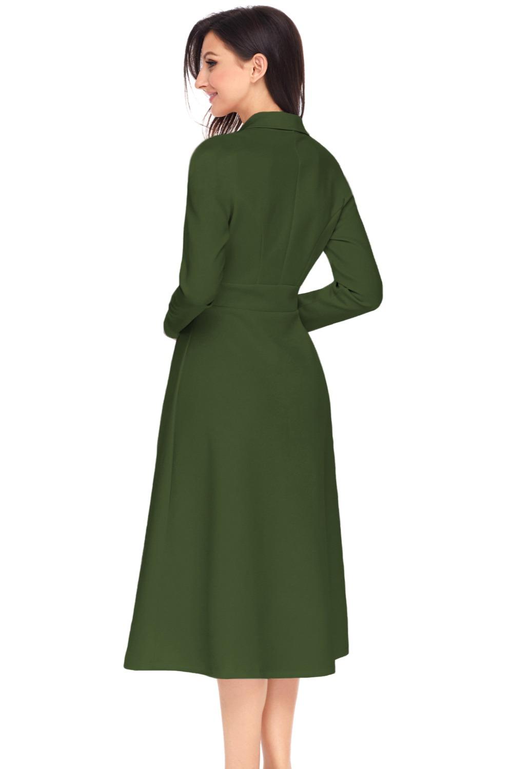923bc9a7a Robe hiver 2018 otoño nueva moda Oficina señora swing Vestidos elegante  vintage muesca botón de ajuste y flare mediados -becerro lc61803