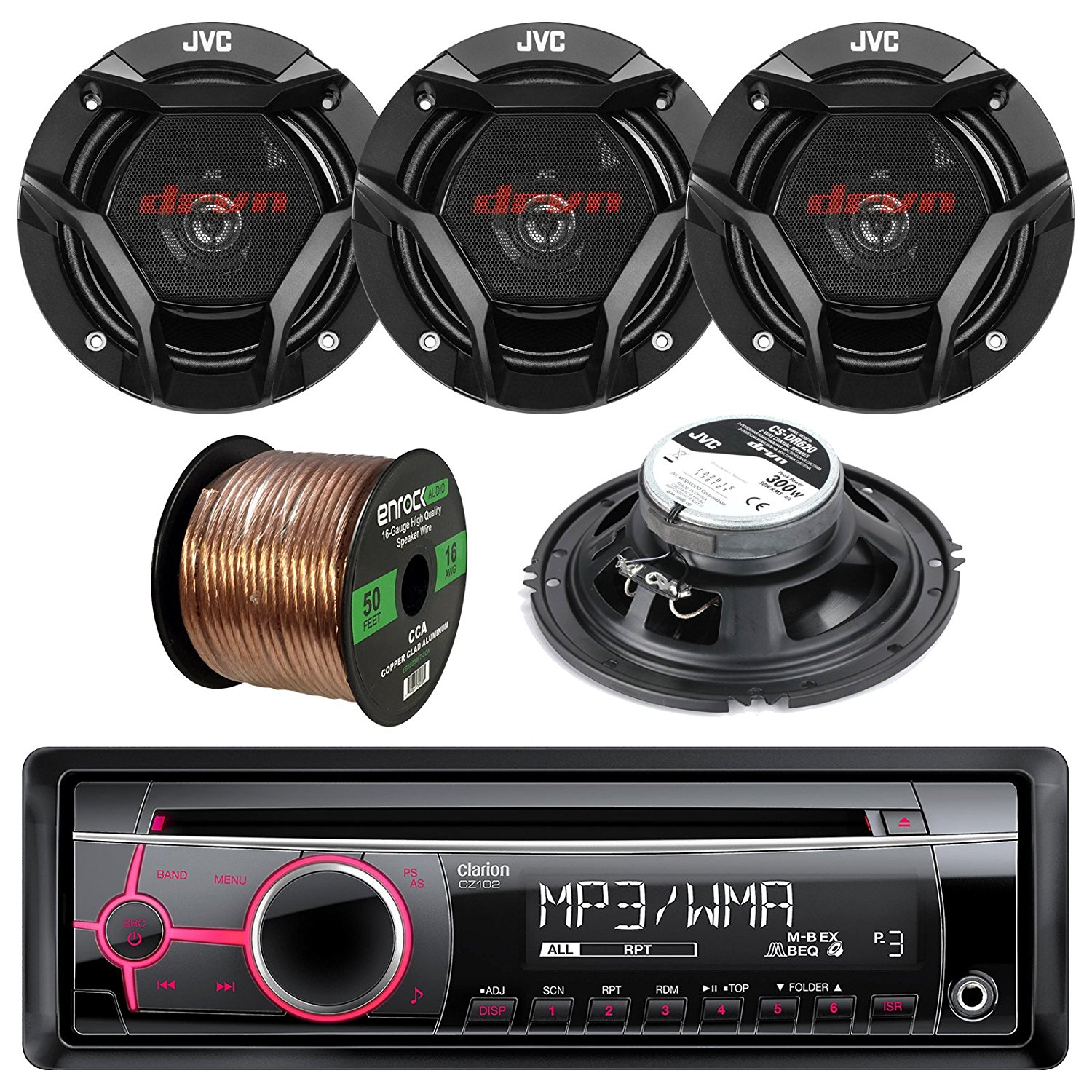 hight resolution of get quotations clarion cz102 single din cd mp3 wma aux car stereo receiver bundle combo