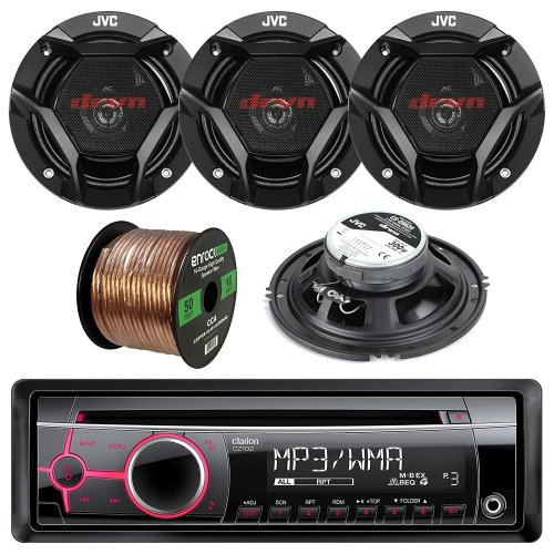 small resolution of get quotations clarion cz102 single din cd mp3 wma aux car stereo receiver bundle combo