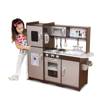 wooden toy kitchen average cost to reface cabinets plk502 square espresso set with play utensils for boy 2017 new arrival