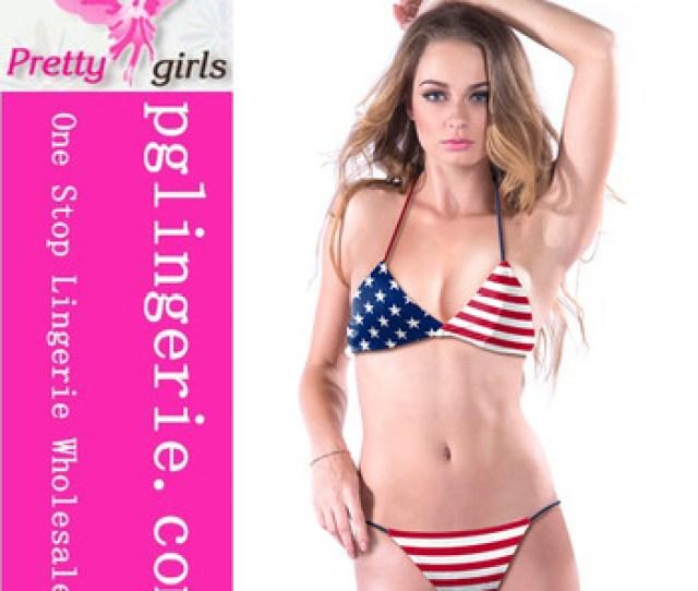 Sexy Models American Flag Print Young Girls Hot Sexy Swimwear