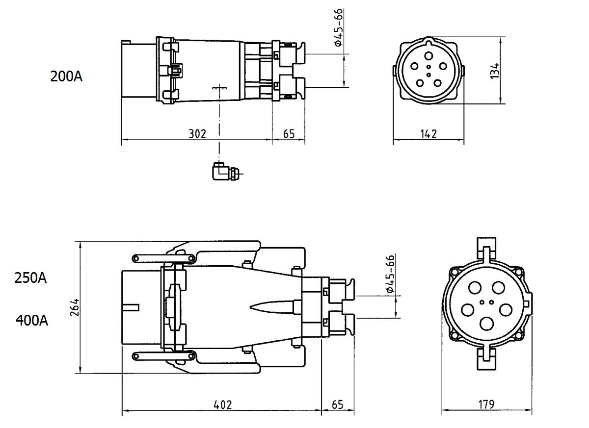 Saipwell Iec Ip67 200a 400v 4 Pin Waterproof Industrial