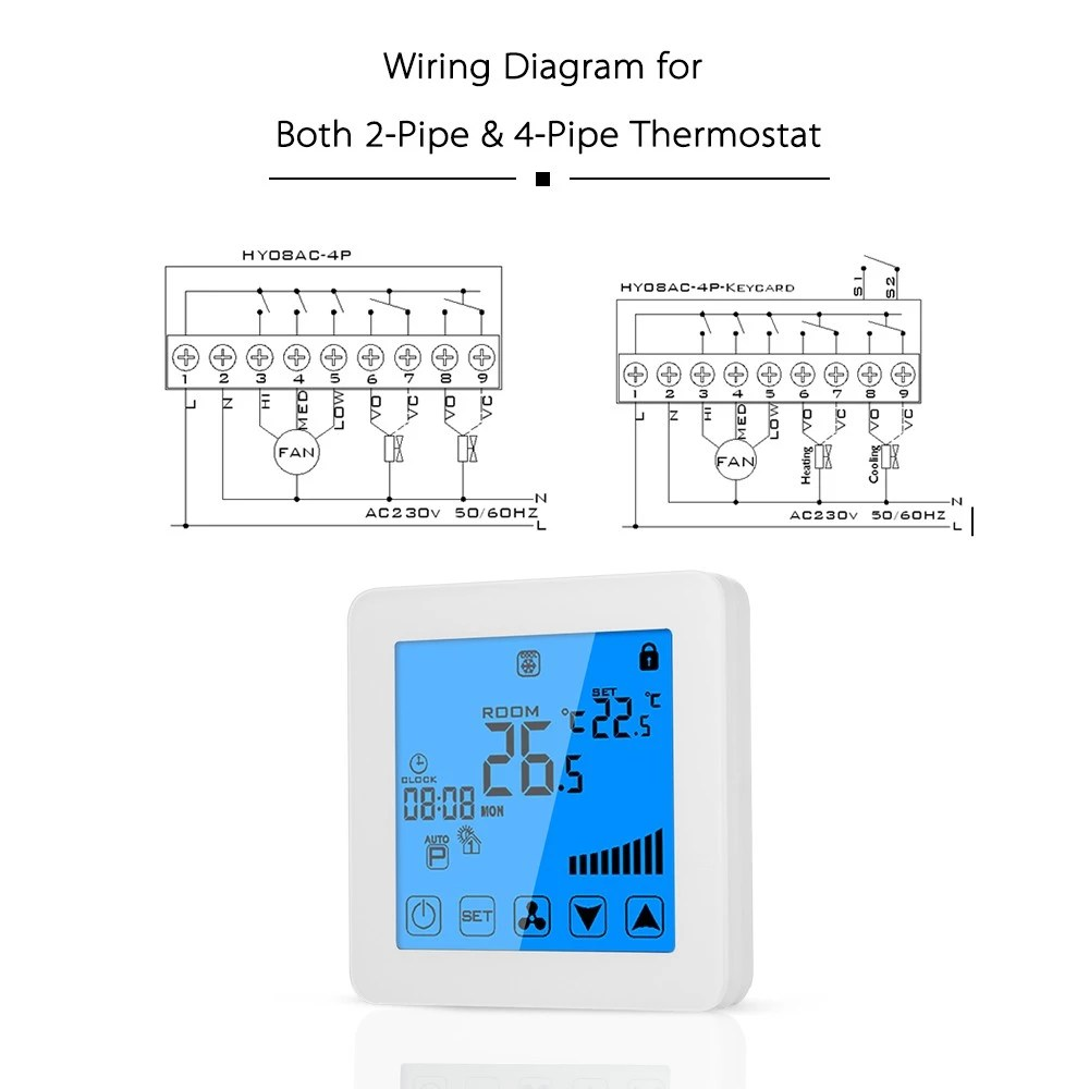 medium resolution of digital touch screen fan coil units actuator thermostat for home hotel shopping mall heating
