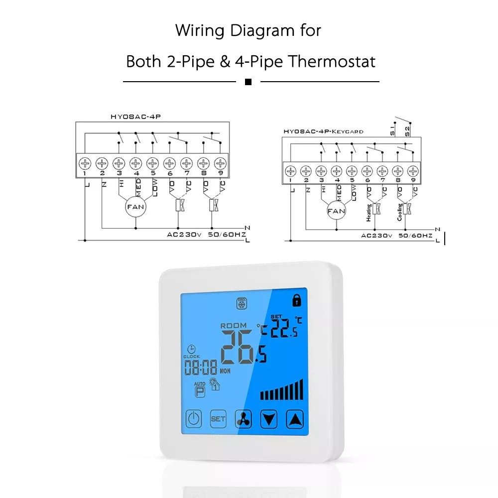 hight resolution of digital touch screen fan coil units actuator thermostat for home hotel shopping mall heating