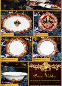 Luxury Fine Bone China 47pcs Colorful Dinnerware Sets ...