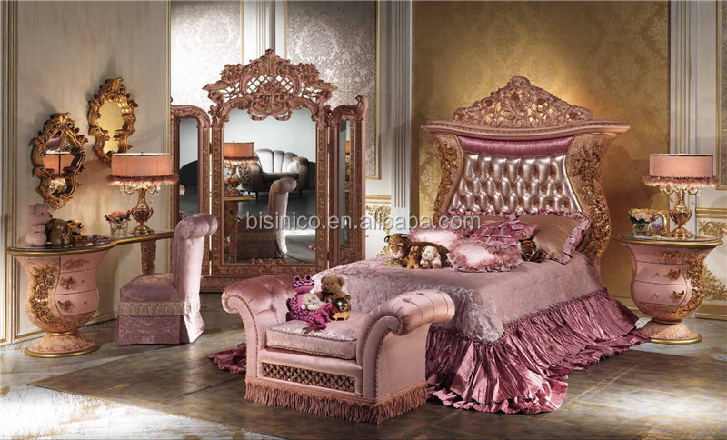 Luxury Wooden and Brass Bedroom Bed Italian Carving Bed with Upholstery Headboard Antique King