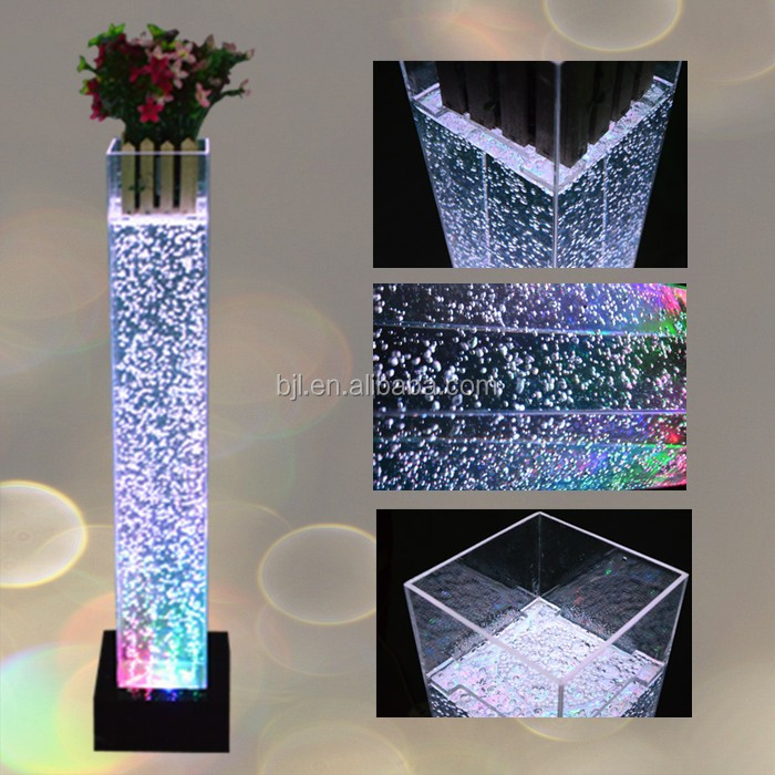 Acrylic Square Water Bubble Flower Column Acrylic Table