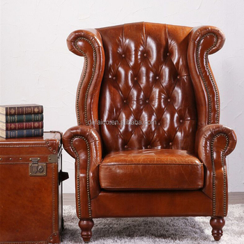 vintage arm chair slipper covers wing high back armchair in tan leather buy