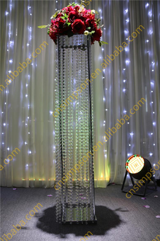 Tall Square Crystal Column WeddingWalkway Leading RoadWedding Flower Centerpieces  Buy Flower