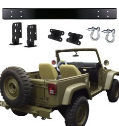 get quotations u box matte black 75th willys mb salute edition rear bumper with d ring [ 1500 x 1500 Pixel ]