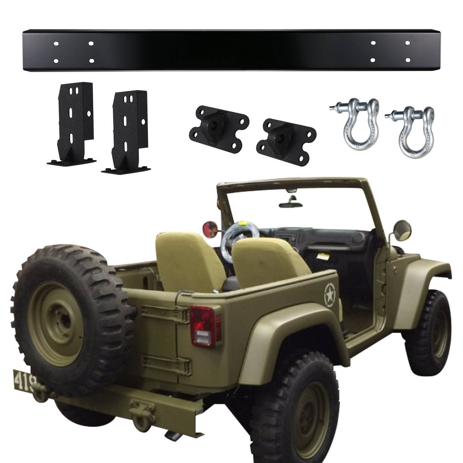 hight resolution of get quotations u box matte black 75th willys mb salute edition rear bumper with d ring
