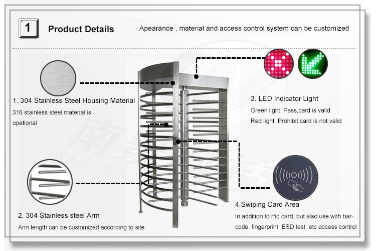 Barcode Ticket Access Control Full Height Turnstile Price