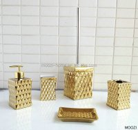 Gold Coloured Bathroom Accessories,Ceramic Gold Bath Set ...