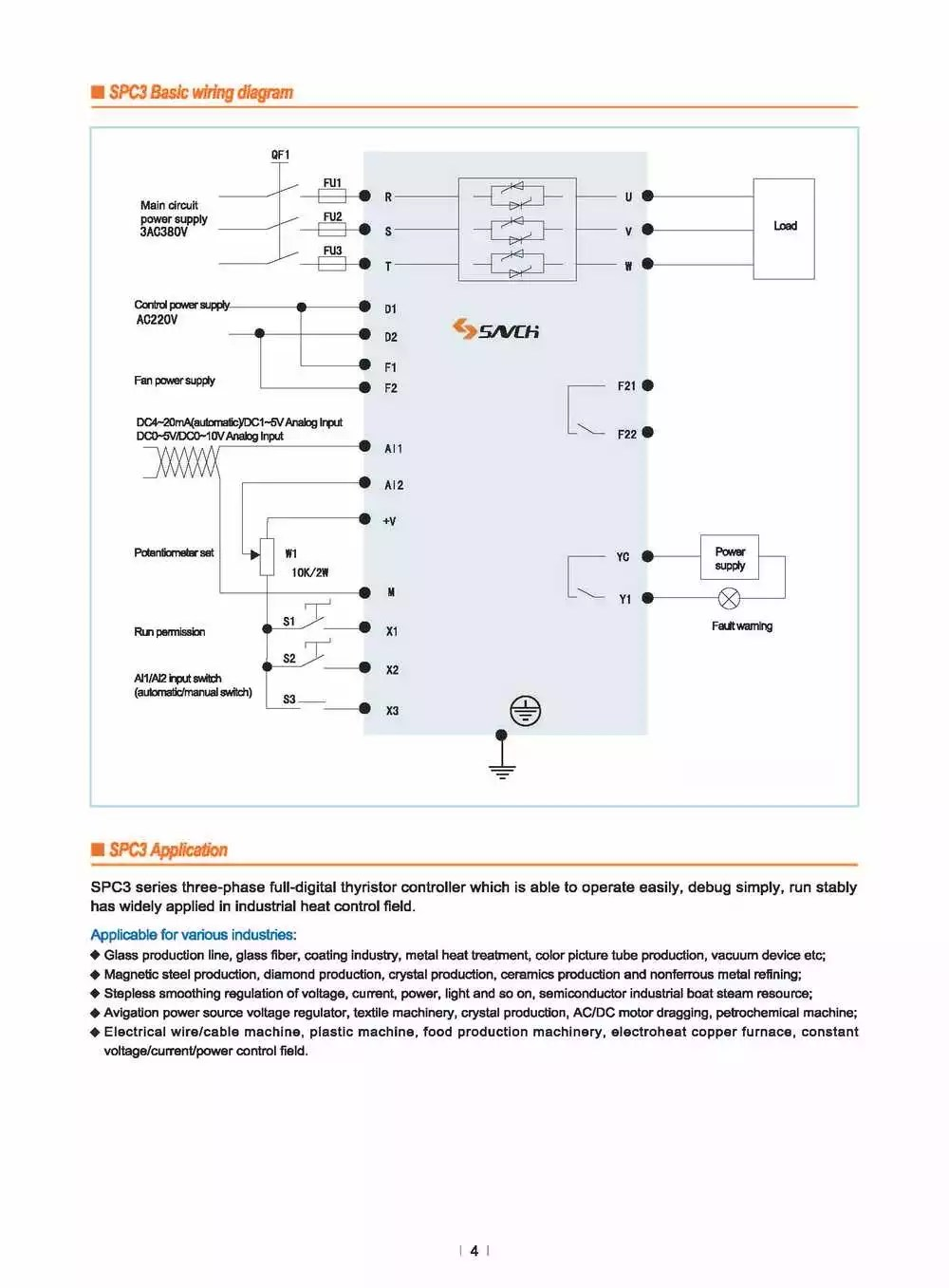 hight resolution of spc3 415v 480v 3 phase constant voltage ac thyristor scr power regulator for heater controller