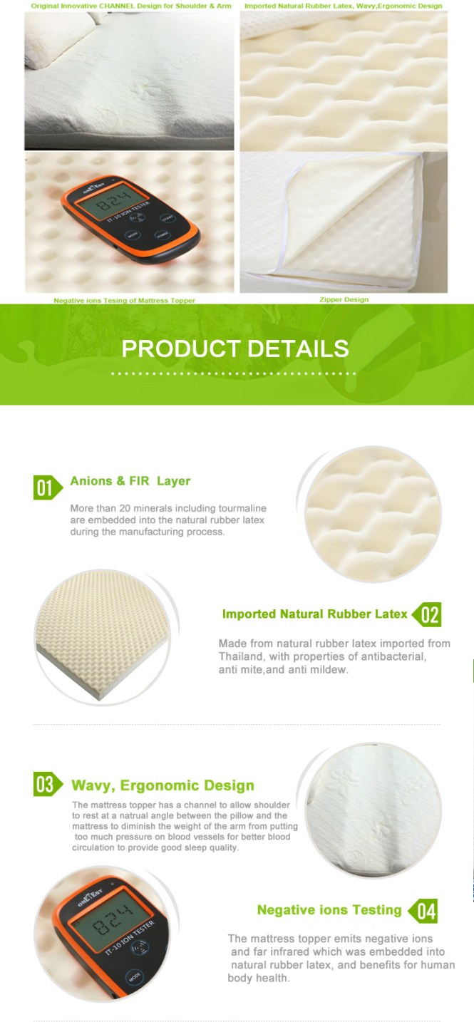 Qsupport Bed Mattress Topper With Negative Ion And Far Infrared Breathable Soft